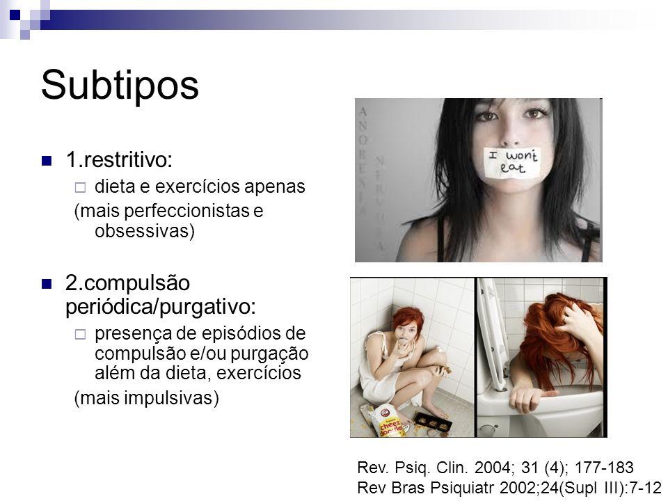 Subtipos 1.restritivo: 2.compulsão periódica/purgativo: