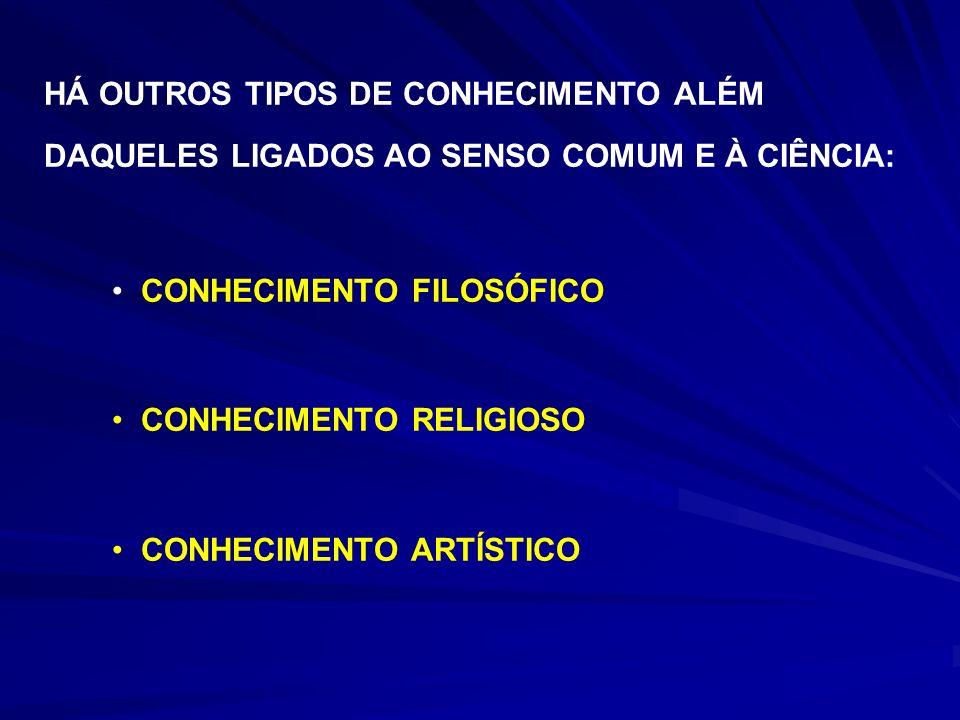 HÁ OUTROS TIPOS DE CONHECIMENTO ALÉM DAQUELES LIGADOS AO SENSO COMUM E À CIÊNCIA: