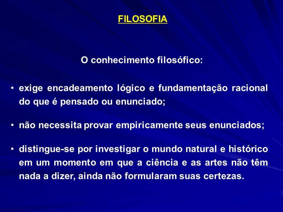 FILOSOFIA O conhecimento filosófico: exige encadeamento lógico e fundamentação racional do que é pensado ou enunciado;