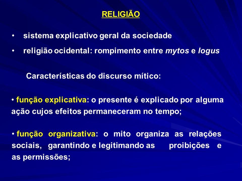 RELIGIÃO sistema explicativo geral da sociedade. religião ocidental: rompimento entre mytos e logus.