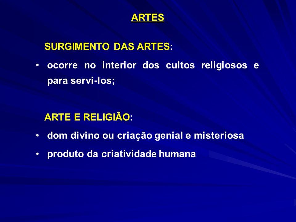 ARTES SURGIMENTO DAS ARTES: ocorre no interior dos cultos religiosos e para servi-los; ARTE E RELIGIÃO: