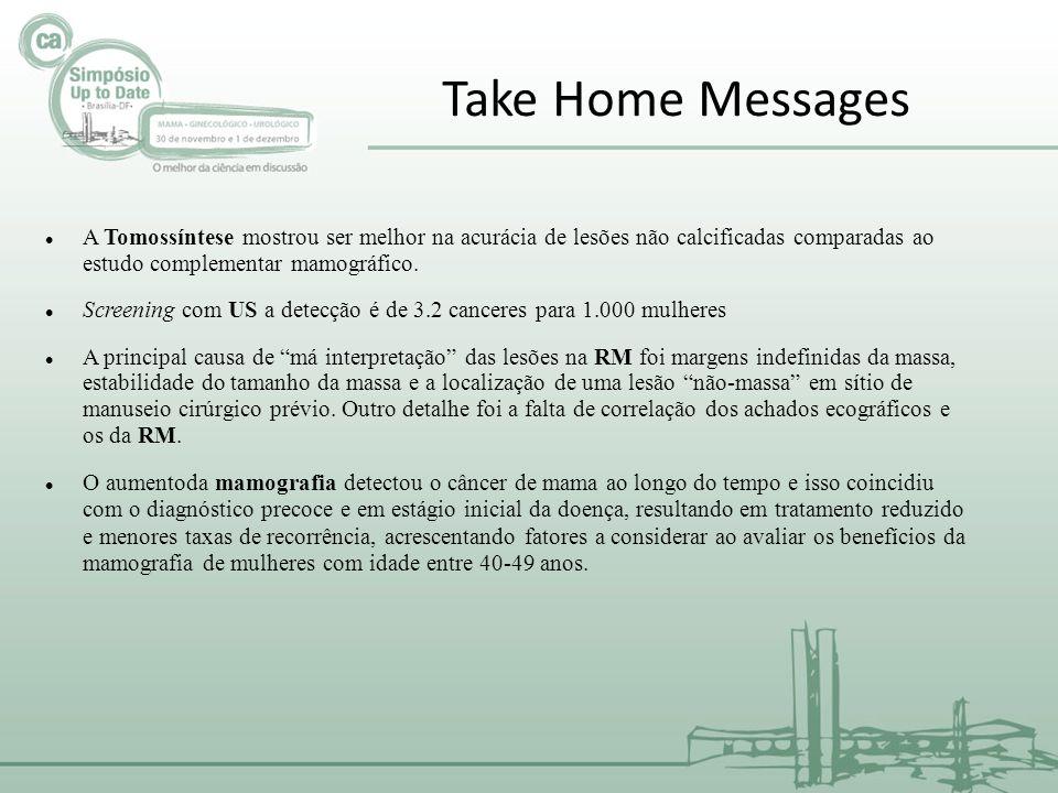 Take Home Messages A Tomossíntese mostrou ser melhor na acurácia de lesões não calcificadas comparadas ao estudo complementar mamográfico.