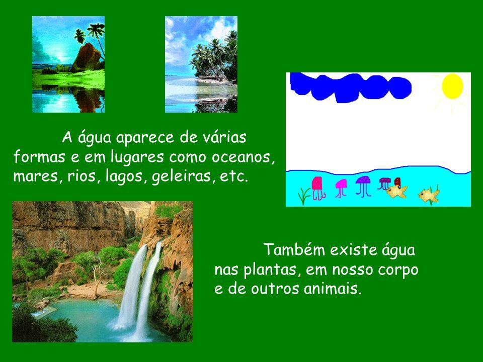 A água aparece de várias formas e em lugares como oceanos, mares, rios, lagos, geleiras, etc.