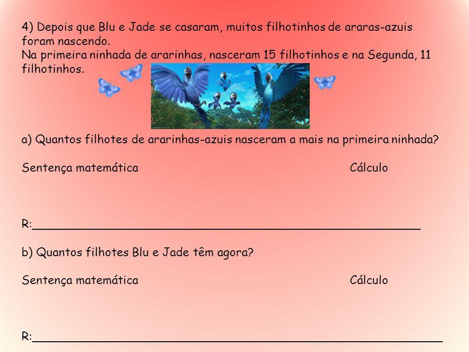 4) Depois que Blu e Jade se casaram, muitos filhotinhos de araras-azuis foram nascendo.