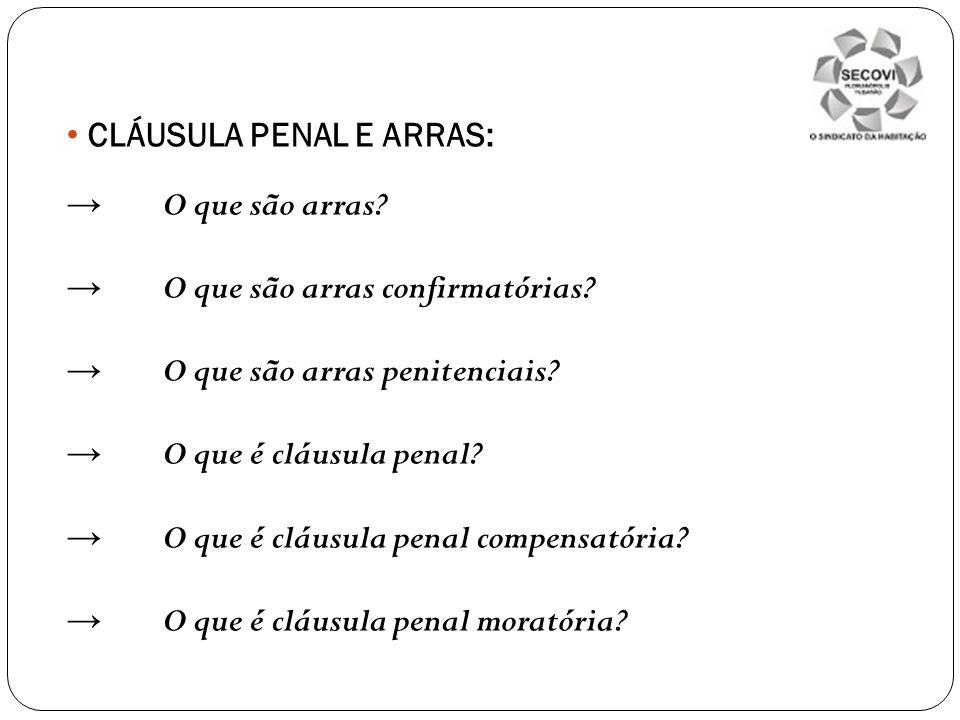 CLÁUSULA PENAL E ARRAS: