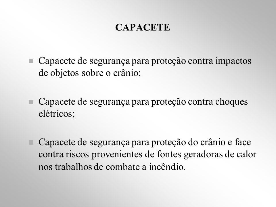 CAPACETE Capacete de segurança para proteção contra impactos de objetos sobre o crânio;