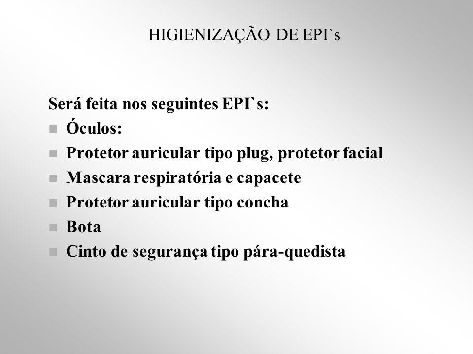 HIGIENIZAÇÃO DE EPI`s Será feita nos seguintes EPI`s: Óculos: Protetor auricular tipo plug, protetor facial.