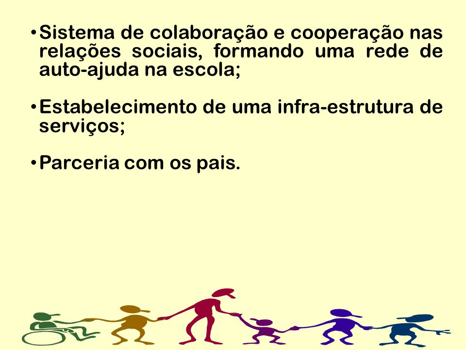 Sistema de colaboração e cooperação nas relações sociais, formando uma rede de auto-ajuda na escola;
