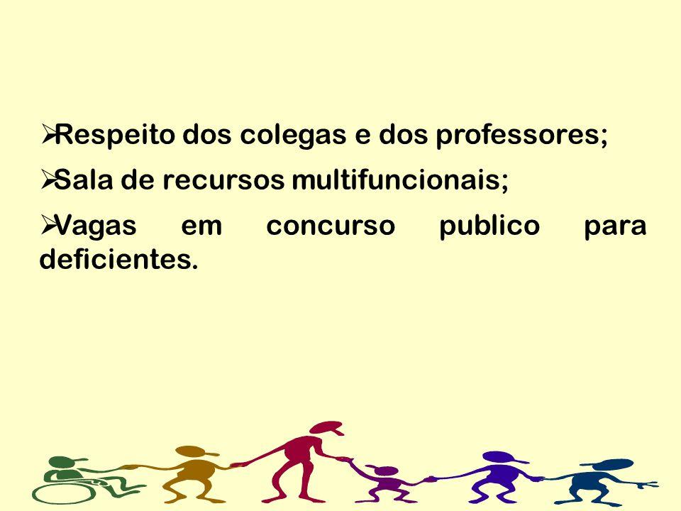 Respeito dos colegas e dos professores;