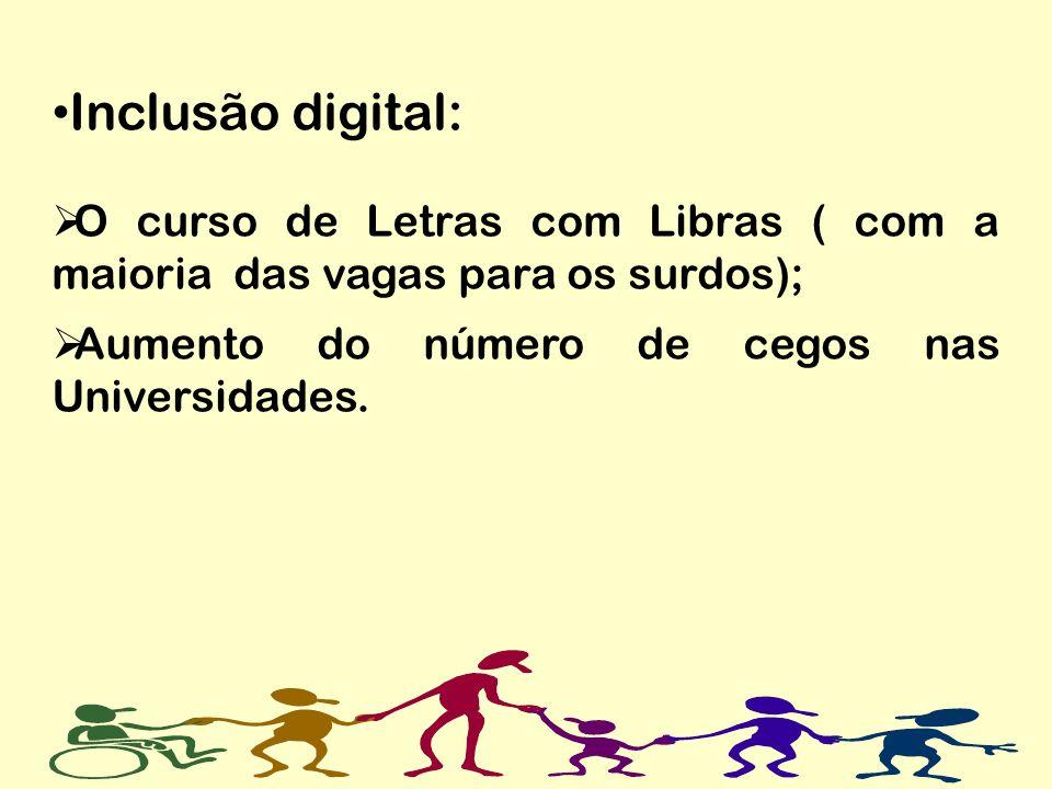 Inclusão digital:O curso de Letras com Libras ( com a maioria das vagas para os surdos); Aumento do número de cegos nas Universidades.