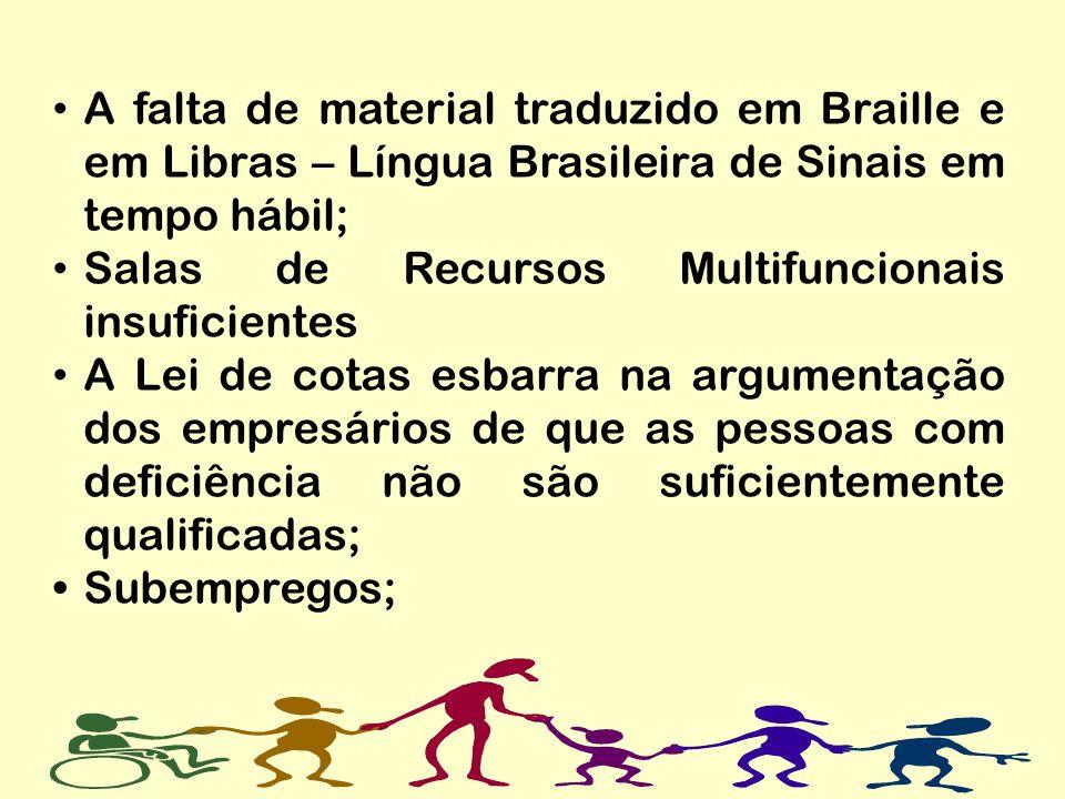 A falta de material traduzido em Braille e em Libras – Língua Brasileira de Sinais em tempo hábil;