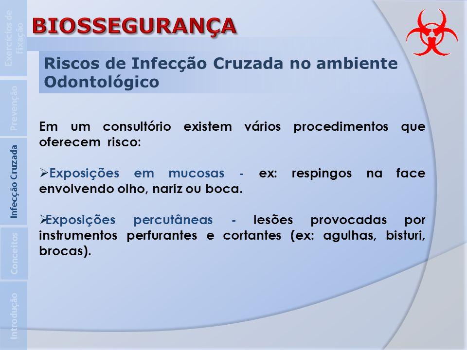 BIOSSEGURANÇA Riscos de Infecção Cruzada no ambiente Odontológico