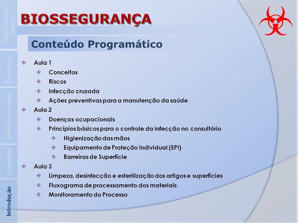 BIOSSEGURANÇA Conteúdo Programático Exercícios de fixação Prevenção
