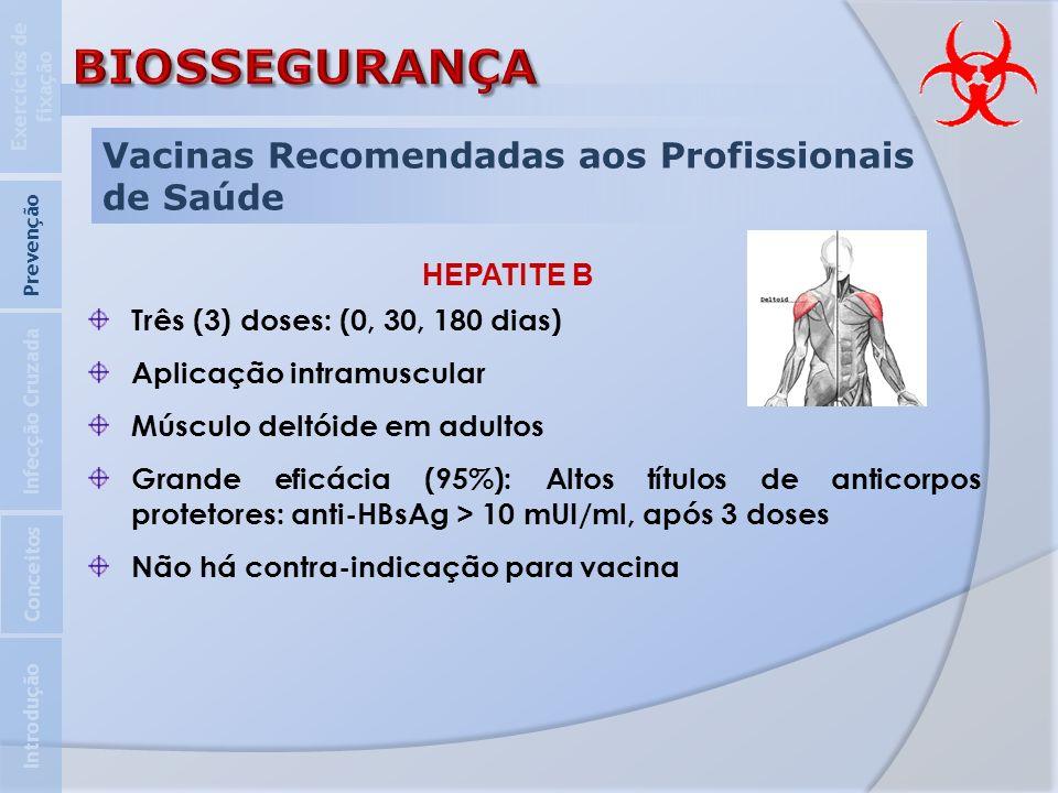 BIOSSEGURANÇA Vacinas Recomendadas aos Profissionais de Saúde