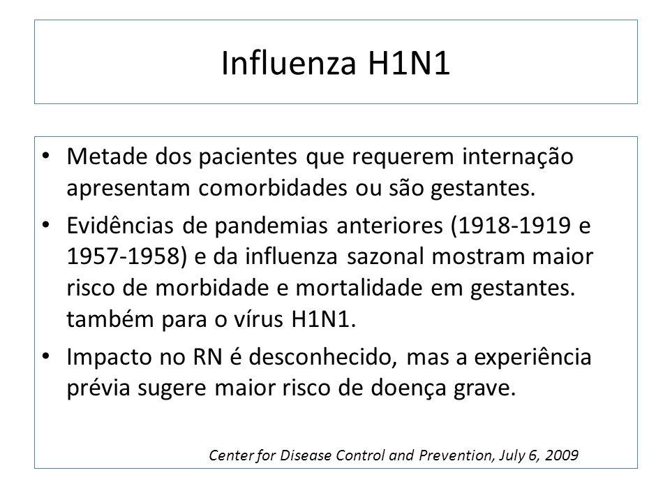 Influenza H1N1 Metade dos pacientes que requerem internação apresentam comorbidades ou são gestantes.