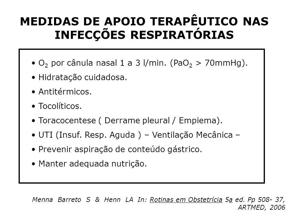 MEDIDAS DE APOIO TERAPÊUTICO NAS INFECÇÕES RESPIRATÓRIAS