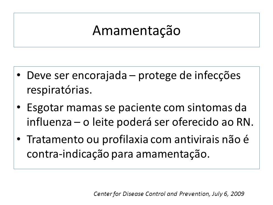 Amamentação Deve ser encorajada – protege de infecções respiratórias.