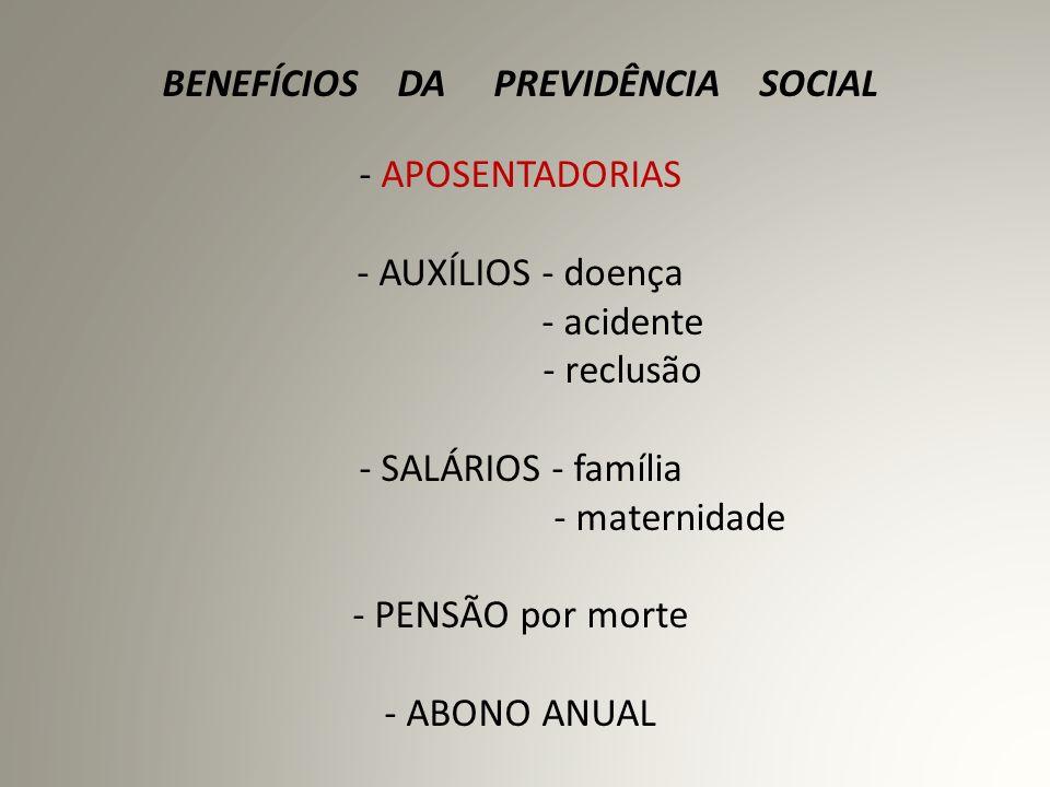 BENEFÍCIOS DA PREVIDÊNCIA SOCIAL - APOSENTADORIAS - AUXÍLIOS - doença - acidente - reclusão - SALÁRIOS - família - maternidade - PENSÃO por morte - ABONO ANUAL