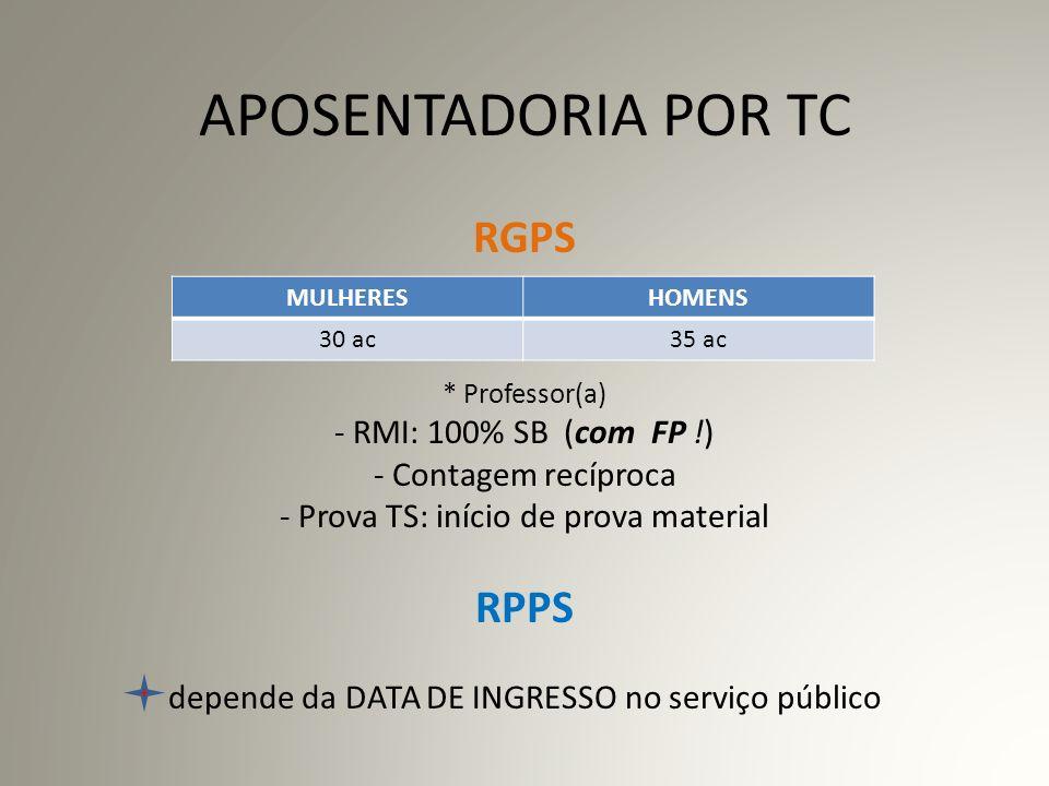 APOSENTADORIA POR TC RGPS. Professor(a) - RMI: 100% SB (com FP