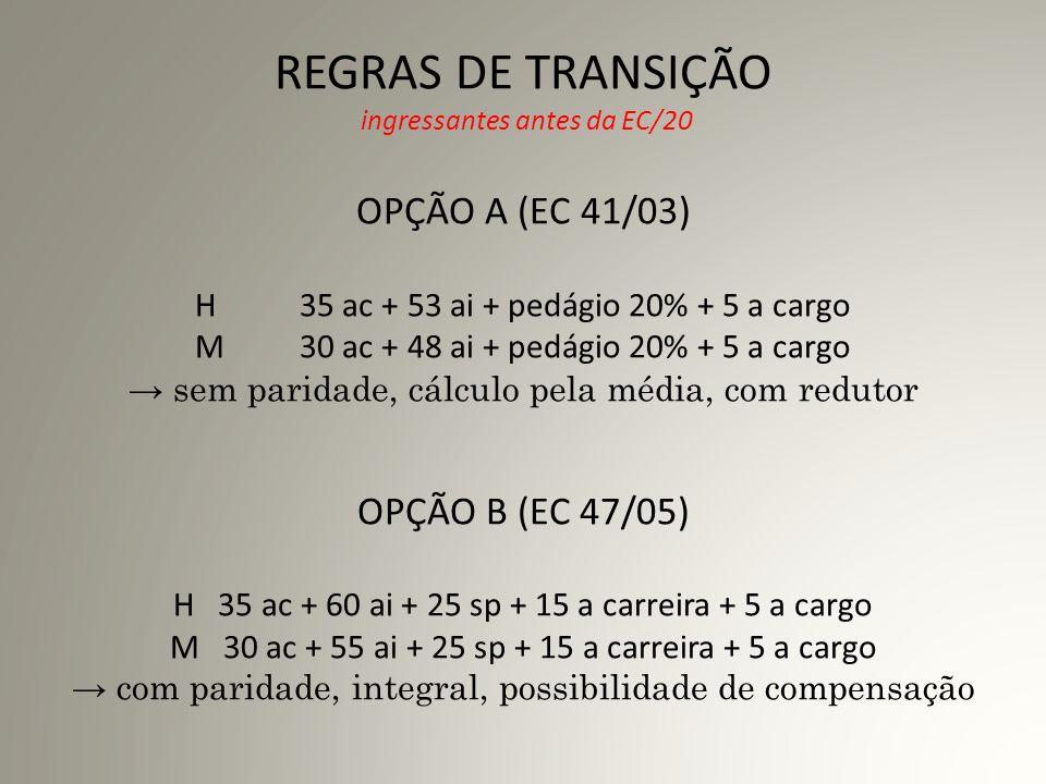 REGRAS DE TRANSIÇÃO ingressantes antes da EC/20 OPÇÃO A (EC 41/03) H