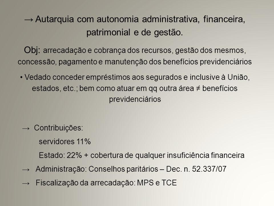 → Autarquia com autonomia administrativa, financeira, patrimonial e de gestão.