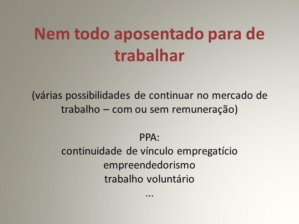 Nem todo aposentado para de trabalhar (várias possibilidades de continuar no mercado de trabalho – com ou sem remuneração) PPA: continuidade de vínculo empregatício empreendedorismo trabalho voluntário ...