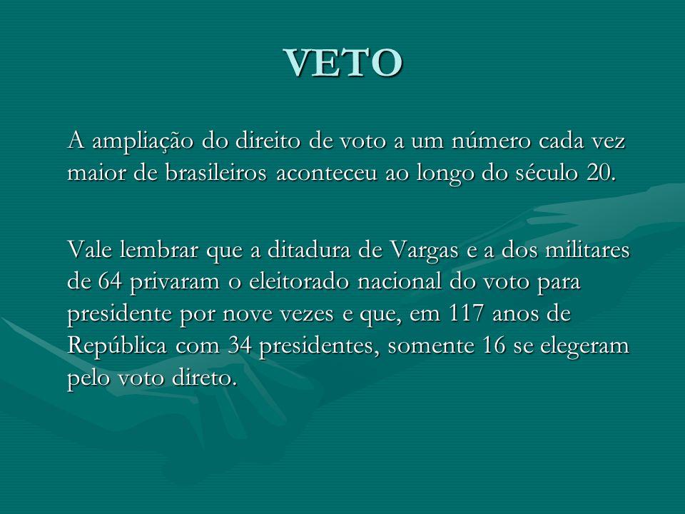 VETO A ampliação do direito de voto a um número cada vez maior de brasileiros aconteceu ao longo do século 20.
