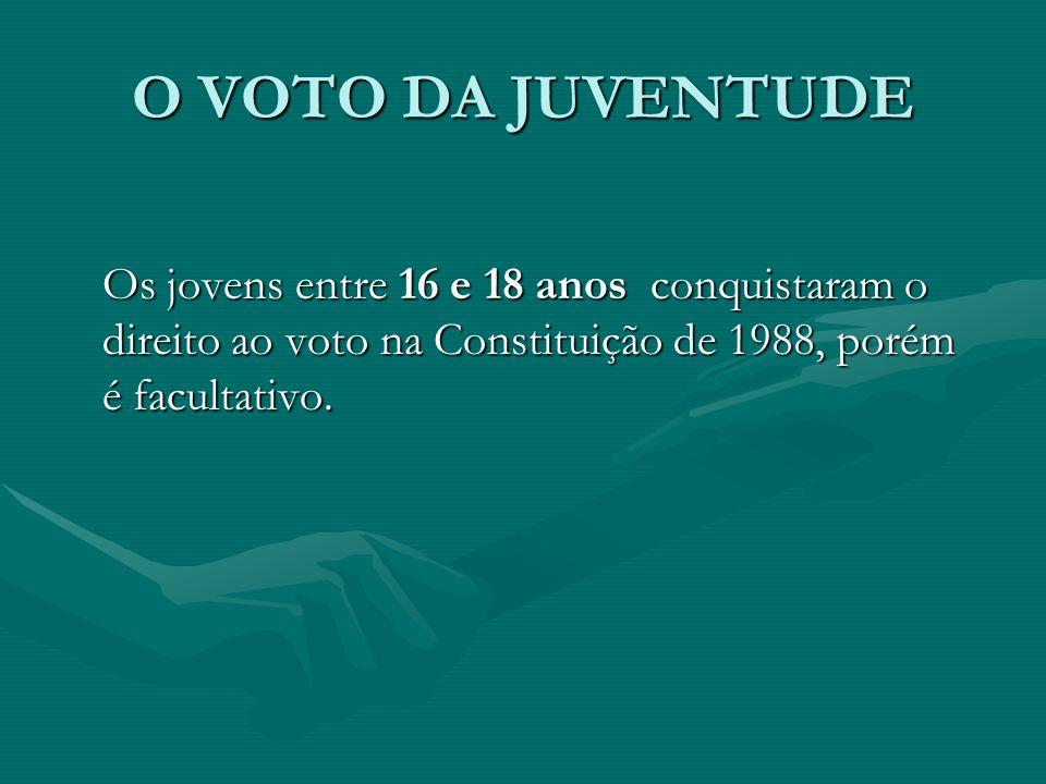 O VOTO DA JUVENTUDE Os jovens entre 16 e 18 anos conquistaram o direito ao voto na Constituição de 1988, porém é facultativo.