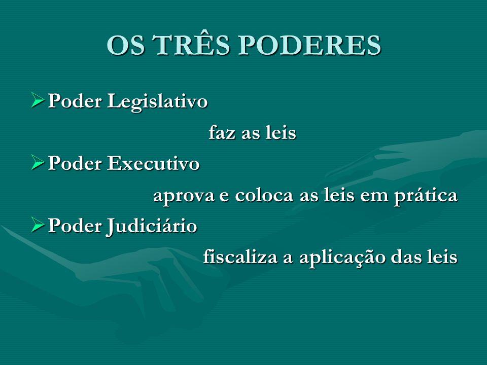 OS TRÊS PODERES Poder Legislativo faz as leis Poder Executivo
