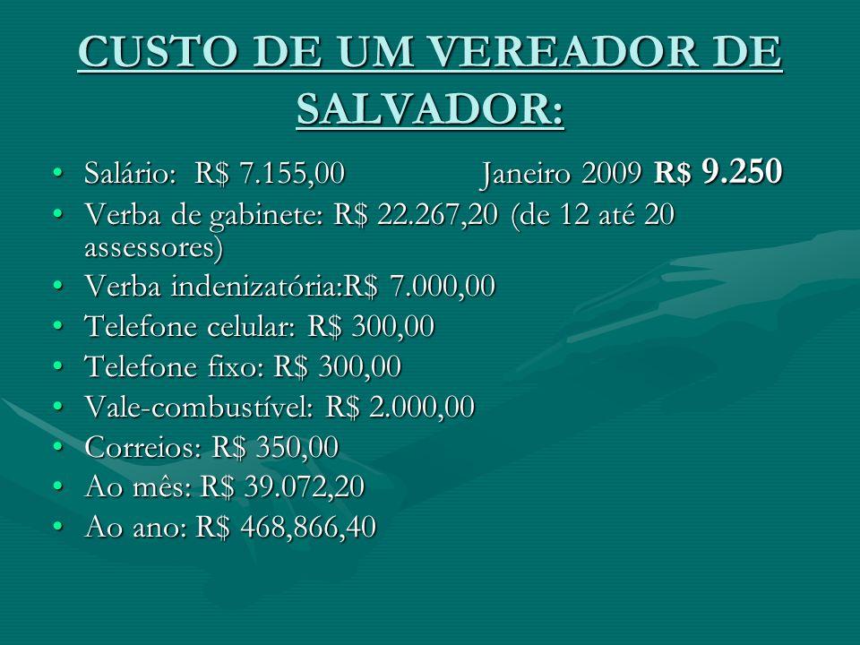 CUSTO DE UM VEREADOR DE SALVADOR:
