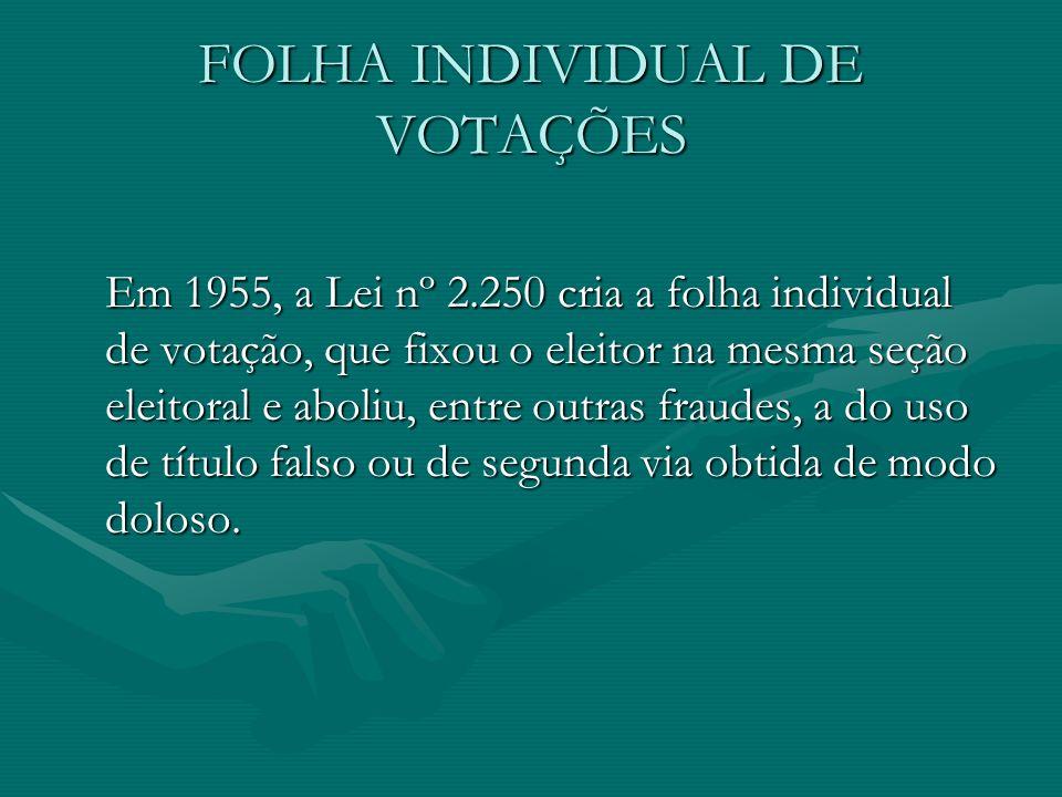 FOLHA INDIVIDUAL DE VOTAÇÕES