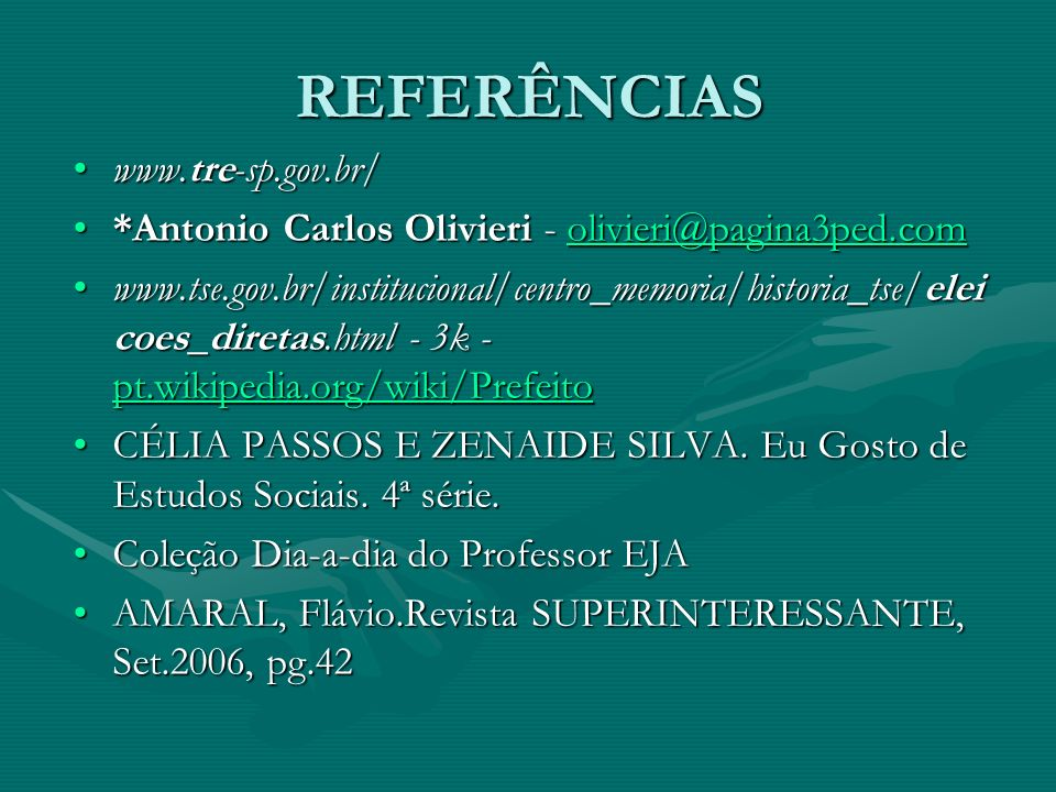 REFERÊNCIAS www.tre-sp.gov.br/