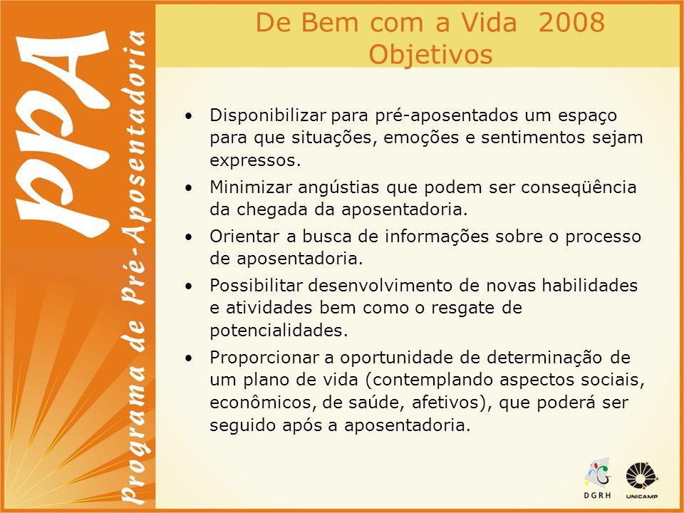 De Bem com a Vida 2008 Objetivos