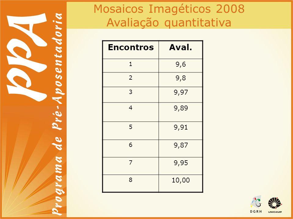 Mosaicos Imagéticos 2008 Avaliação quantitativa