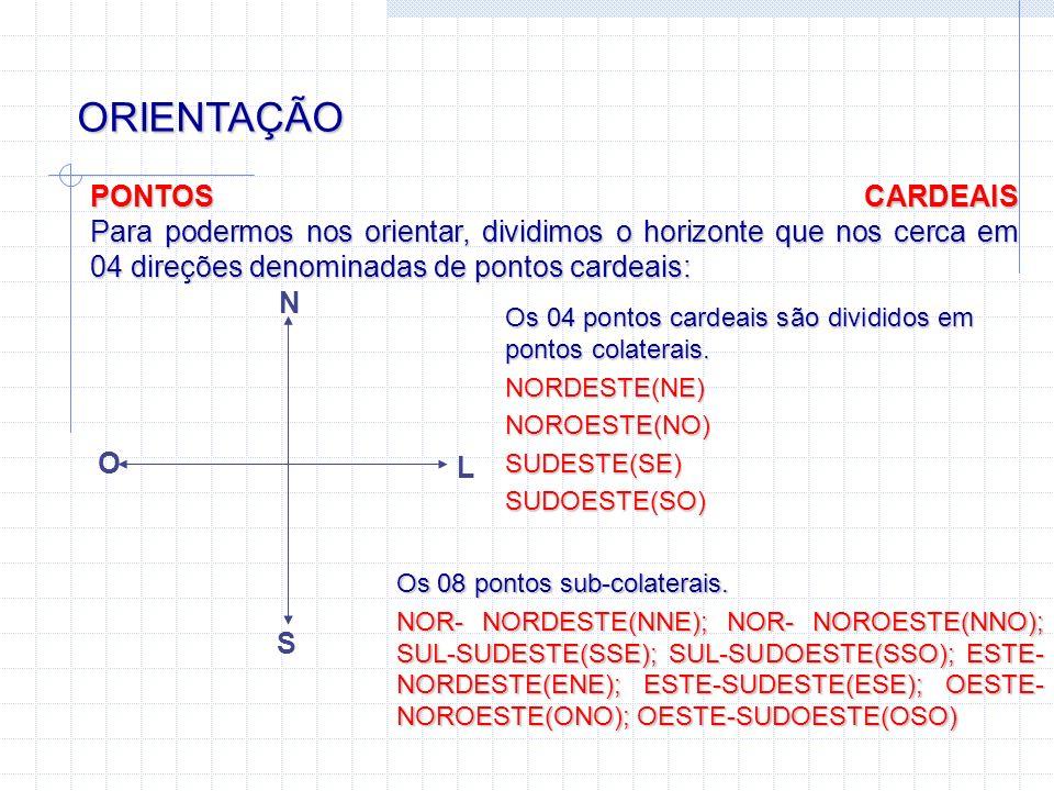 ORIENTAÇÃO PONTOS CARDEAIS Para podermos nos orientar, dividimos o horizonte que nos cerca em 04 direções denominadas de pontos cardeais: