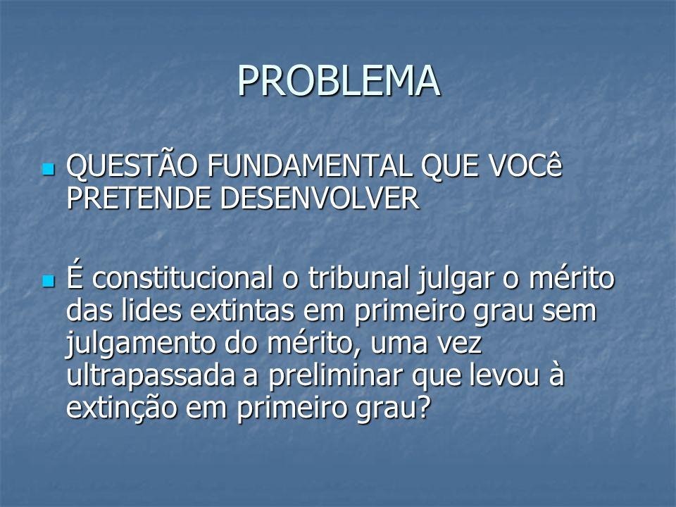 PROBLEMA QUESTÃO FUNDAMENTAL QUE VOCê PRETENDE DESENVOLVER
