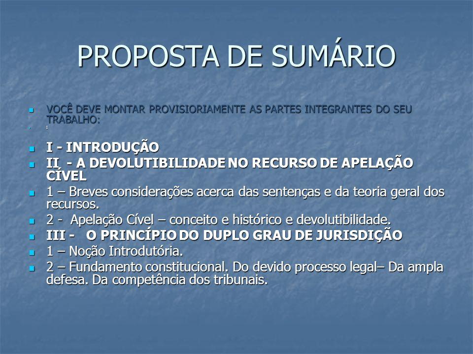 PROPOSTA DE SUMÁRIO I - INTRODUÇÃO