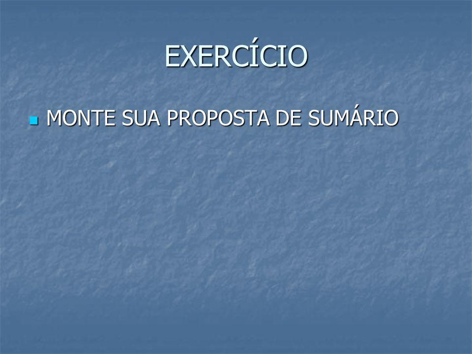 EXERCÍCIO MONTE SUA PROPOSTA DE SUMÁRIO