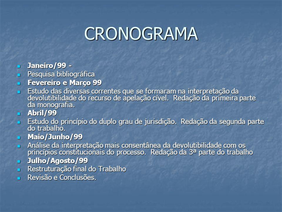CRONOGRAMA Janeiro/99 - Pesquisa bibliográfica Fevereiro e Março 99