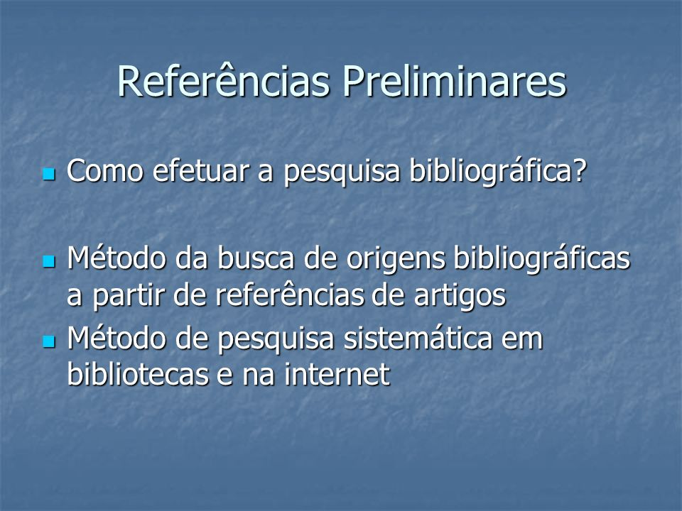 Referências Preliminares
