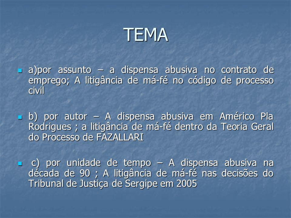 TEMA a)por assunto – a dispensa abusiva no contrato de emprego; A litigância de má-fé no código de processo civil.