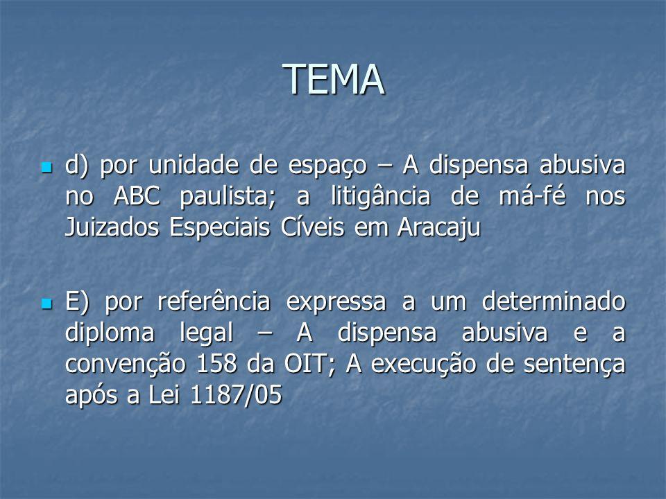 TEMA d) por unidade de espaço – A dispensa abusiva no ABC paulista; a litigância de má-fé nos Juizados Especiais Cíveis em Aracaju.