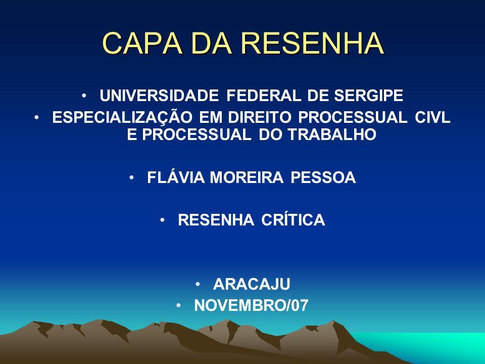 CAPA DA RESENHA UNIVERSIDADE FEDERAL DE SERGIPE