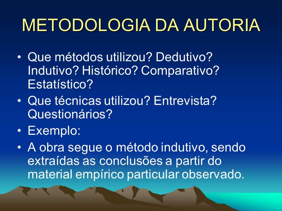 METODOLOGIA DA AUTORIA