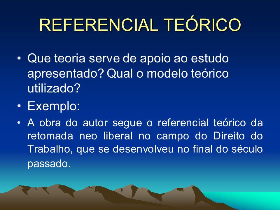 REFERENCIAL TEÓRICO Que teoria serve de apoio ao estudo apresentado Qual o modelo teórico utilizado