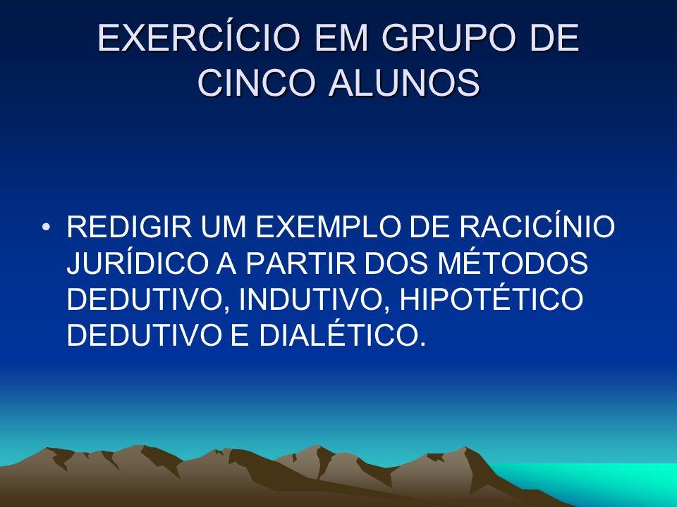 EXERCÍCIO EM GRUPO DE CINCO ALUNOS