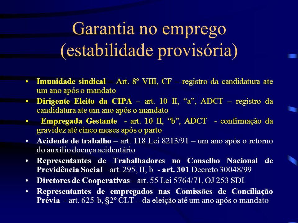 Garantia no emprego (estabilidade provisória)
