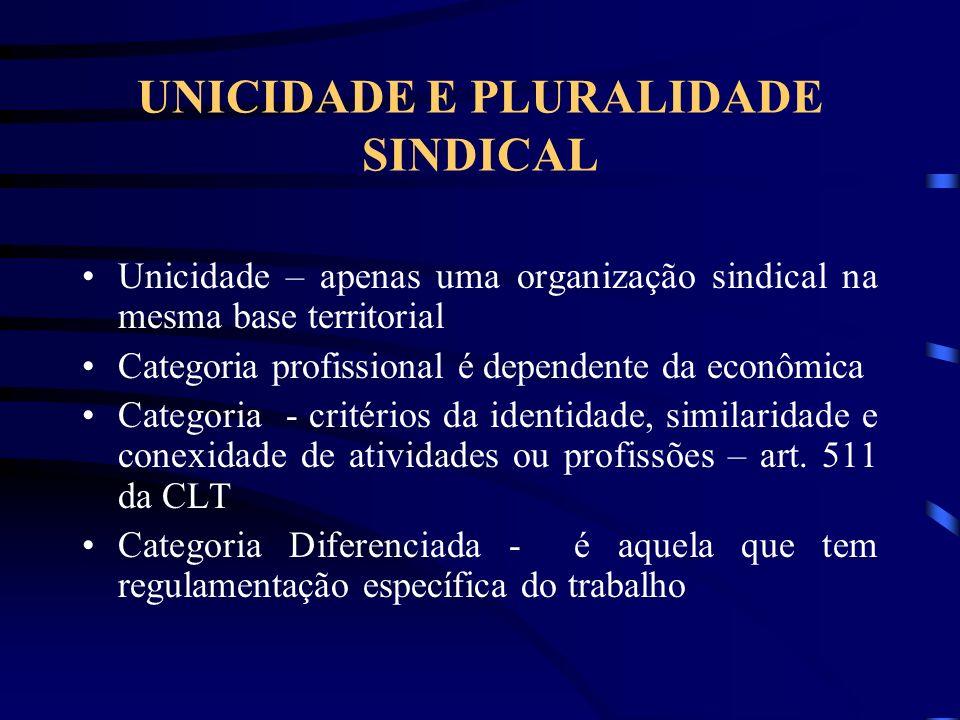 UNICIDADE E PLURALIDADE SINDICAL