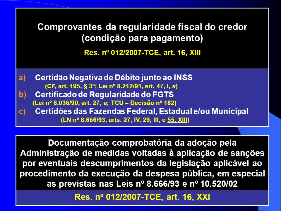 Comprovantes da regularidade fiscal do credor