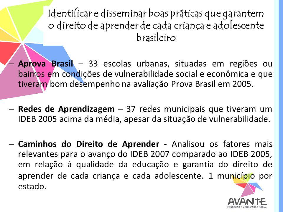 Identificar e disseminar boas práticas que garantem o direito de aprender de cada criança e adolescente brasileiro